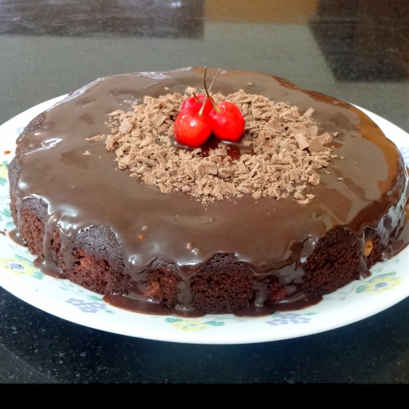 Photo of Eggless Wholegrain  Cherry Chocolate Cake with Chocolate Glaze by Namita Tiwari at BetterButter